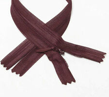 "wholesale 1-1000 zippers 24""/61cm burgundy closed end invisible/ hidden zip #277"