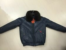 NWT VINTAGE DOUBLE F.A.T. GOOSE V-BOMBER JACKET FROM 80'S NAVY WITH FOX COLLAR