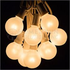 25 Foot Outdoor Globe Party String Lights - Set of 25 G40 White Pearl Bulbs