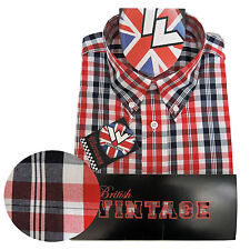 Warrior Short Sleeve Button Down Shirt FERDY Mod Skinhead Red Blue White
