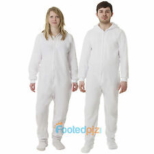 White Fleece Adult All In One Footed Pyjamas Ladies/Mens/Unisex Jumpsuit Romper