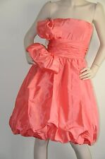 $3290 New Oscar de la Renta Strapless Coral Silk Faille Taffeta Bubble DRESS 6