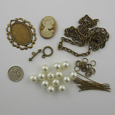 NEW Necklace Kit Glass Pearl Beads Vintage Cameo Oval  Link Chain 43cm  Findings