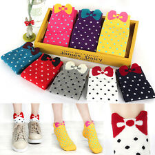 10pairs/lot Candy Color Girl Cotton Socks 3D Bow Polka Dot Ankle Socks Hot Sale