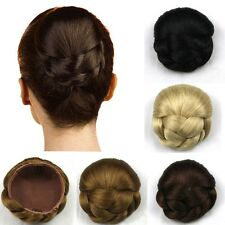 Womens Chignon Synthetic Black/Brown Updo Hairpiece Clip-In Hair Bun Extension