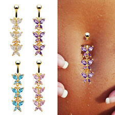 Charming Crystal Butterfly Dangle Button Navel Belly Bar Ring 18K Gold Plated