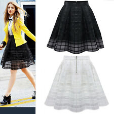 Womens Ladies Belted Skater Flared Jersey Plain Mini Party Dress Skirt