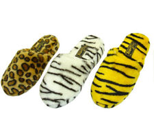 ANIMAL SLIPPERS LION ZEBRA TIGER LADIES FUZZY Sz S, M, L, XL