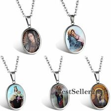 Oval Medal Virgin Mary Stainless Steel Mother of God Charm Pendant Necklace
