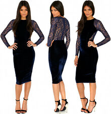Ladys Lace Sleeve Velvet Spliced Bodycon Party Club Evening Slim Dress PLUS Size