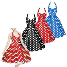 Women 50s 60s Retro Polka Dot Party Evening Dress Rockabilly Housewife Skirt