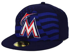 Official MLB 2015 Miami Marlins July 4th Stars Stripes New Era 59FIFTY Hat