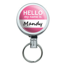 Retractable Reel Badge Key Holder with Belt Clip Hello My Name Is MAK-MAT