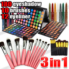 Perfect 10pcs Makeup Brushes +180 Color Eyeshadow Palette +12 Color Eyeliner Kit