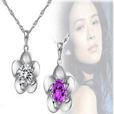New  Crystal Stone Inlay Silver Flower Pendant Womens Necklace Crystal Chain