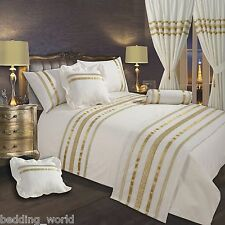 CREAM / OFF WHITE GOLD RIBBON 200 THREAD COUNT COTTON LUXURY BEDDING OR CURTAINS