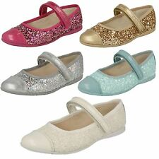 SALE GIRLS CLARKS DANCE IDOL RIPTAPE STRAP GLITTER BALLERINA PUMPS PARTY SHOES