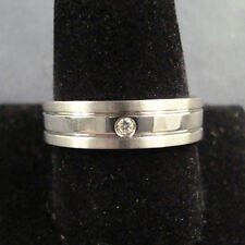 WOW Men TITANIUM RING Grooved CZ Stone 6mm Wedding Band Size 9, 10, 11, 12, 13