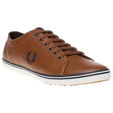 New Mens Fred Perry Tan Kingston Leather Trainers Plimsolls Lace Up