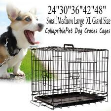 "Pet Dog Cage Collapsible Metal Crate Kennel Portable Puppy Cat 24"" 30"" 36""42""48"""