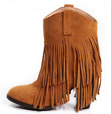 Ladies' Fashion Cowboy Suede High Heels Ankle Fringe Tassels Western Boots Shoes