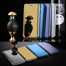 Ultra Thin Clear Smart View Mirror Flip Leather Case Cover For iphone Samsung