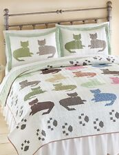 Cat Quilt Pillow Sham Bedding Set Reversible Comforter Bed Cover King Queen Twin