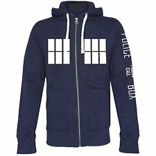 Dr Who Hooded premium Zip Sweatshirt Jacket Hoodie Police Box Tardis new