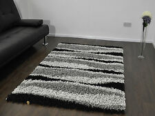 Black & Grey X Large 5cm Thick Waves Design Shaggy Rug Soft Pile Carpet Mat Rugs
