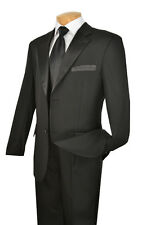 Men's Formal Tuxedo Prom Wedding Groom Suit Classic Fit Two Button Black & White