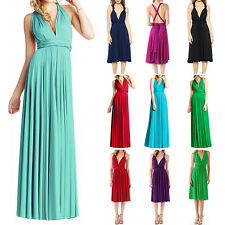 Womens Bridemaid Convertible Multi Way Wrap Evening Party Full Length Maxi Dress