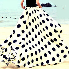 WOMEN FULL SWEEP MAXI DOUBLE-LAYERED CHIFFON FULL LENGTH POLKA DOT SKIRT