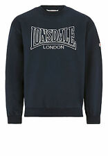 Lonsdale BERGER Navy Blue Crew Neck Sweatshirt Sweater Pullover Embroided Logo