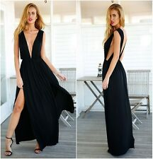Sexy Plunge Vneck Open Back High Slit Empire Waist Prom Pleat Maxi Long Dress