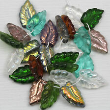 *Pick your color* 25pcs 16X10mm Wavy Leaves Czech glass beads