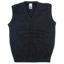 Boys/Girls School Uniform Warm Kids V-Neck Tank Top Sleeveless Jumper 2yrs-XL