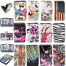 Flip PU Leather Skin Wallet Stand Cell Phone Cover Case For Apple iPhone 4 4S 4G