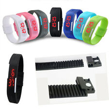 Fashion Unisex Fashion Rubber Sport Bracelet Red LED Touch Digital Wrist Watch