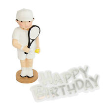 Resin Male Tennis Player Cake Topper & Happy Birthday Motto - Tennis Decoration