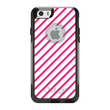 OtterBox Commuter for iPhone 5 5S SE 6 6S Plus Hot Pink & White Diagonal Stripes