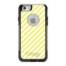 OtterBox Commuter for iPhone 5 5S SE 6 6S Plus Yellow & White Diagonal Stripes