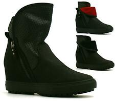 WOMENS SNEAKERS TRAINERS HI TOP HIDDEN WEDGE ANKLE BOOTS HIGH ANKLE BOOTS ZIP
