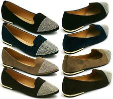 WOMENS DIAMANTE LOAFERS DIAMANTE CASUAL BALLET PUMPS BALLERINAS FLAT SHOES SIZE