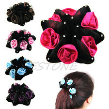 Flower Bun Garland Floral Head Knot Hair Top Scrunchie Band Elastic Bridal GIFT