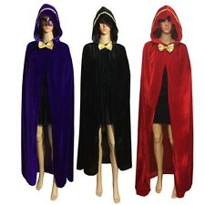 Hooded Cloak Adult Long Cape Coat Masquerade Halloween Costume Fancy Dress M80