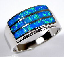 Blue Fire Opal Inlay Solid 925 Sterling Silver Men's, Women Band Ring 7 - 12.5