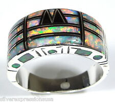 White Fire Opal & Black Onyx Inlay 925 Sterling Silver Men's Ring size 9 - 12.5