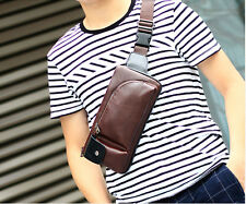 Men Crazy horse PU Leather Messenger Shoulder Sling Chest Fanny Pack Waist Bag
