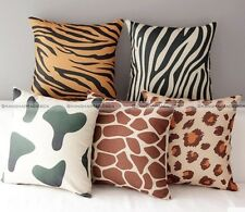 Home Decorative Cotton Linen Animal Stripe Cushion Cover Sofa Throw Pillow Case