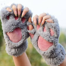 Unique Cute Soft Warm Winter Women Paw Gloves Fingerless Fluffy Bear Plush Paw
